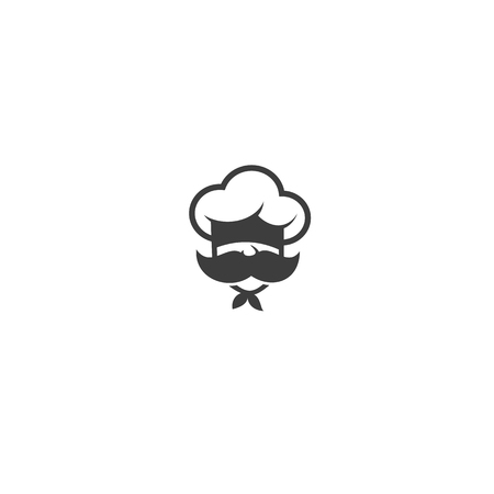 chef with mustache and hat on white background vector illustration design.