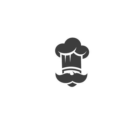 Czarny kucharz z ilustracji wektorowych wąsy i kapelusz