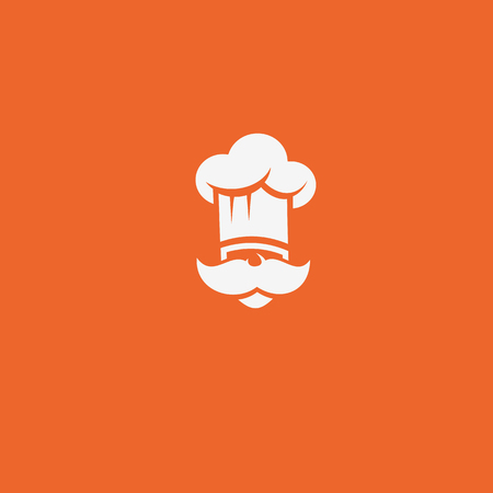 white chef logo with hat and mustache on orange background vector illustration design.