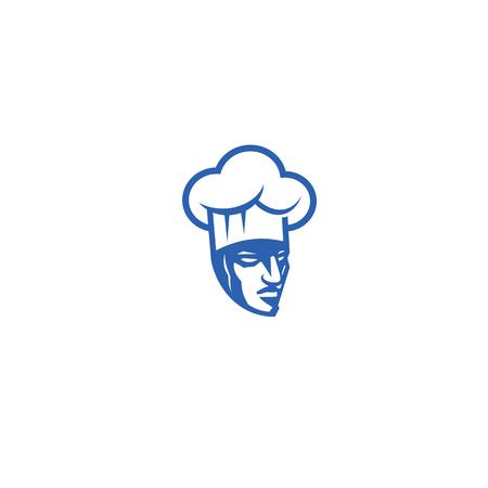 Minimaal logo van boze chef-kok vectorillustratie