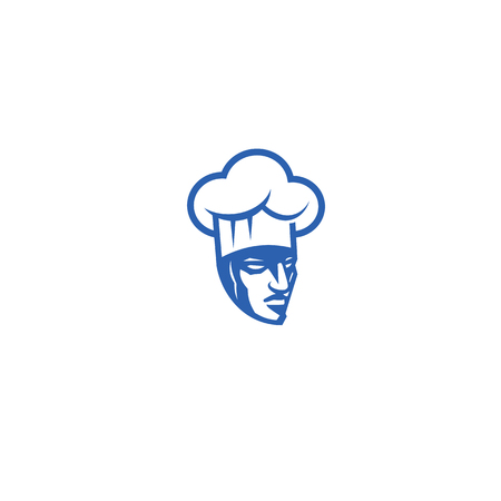 Minimal logo of angry chef vector illustration Ilustracja