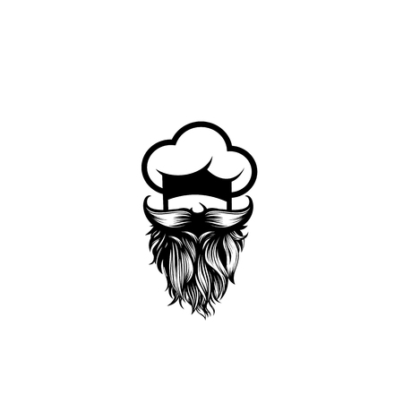 chef with mustache and beard on white background vector illustration design. Illustration