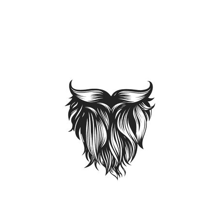 Black curly beard with mustache vector illustration. Stock Vector - 94793062
