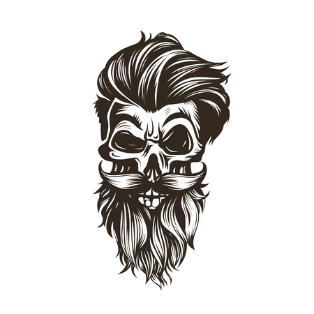 髪型、ひげ、口ひげベクトルイラストを持つ頭蓋骨。