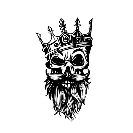 black and white skull in crown with beard vector illustration.