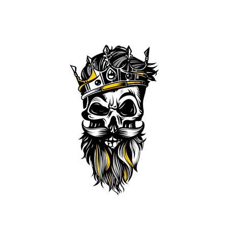 Hand drawn sketch skull with crown vector illustration.