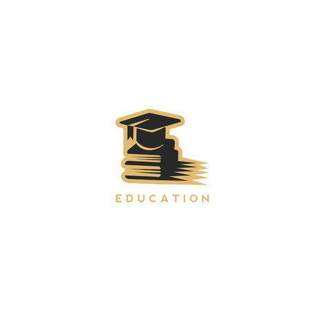 Minimal golden and black educational logo vector illustration