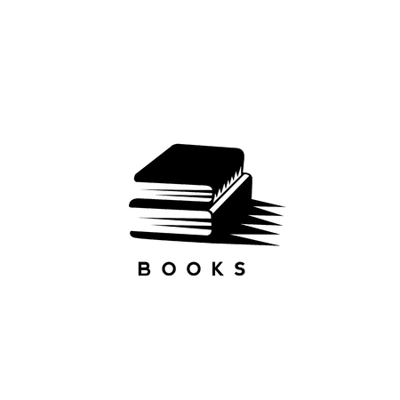 black books with shadow on white background with typography vector illustration design.