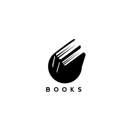 Black and white books vector illustration
