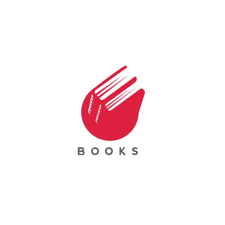 Minimal logo of red color books vector illustration Vectores