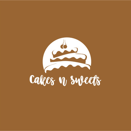 タイポグラフィベクターイラストデザインの茶色の背景にケーキの最小のロゴ。