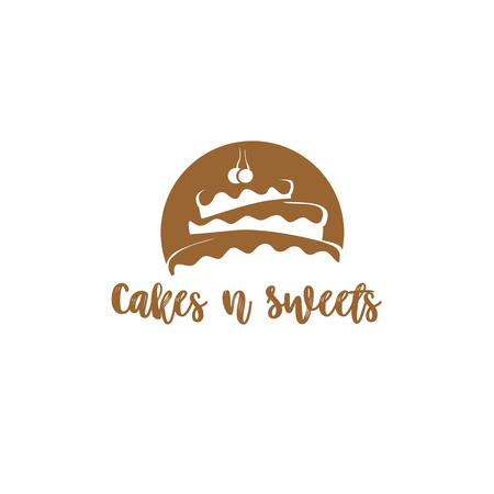 Delicious chocolate cake on white background with typography vector illustration design.