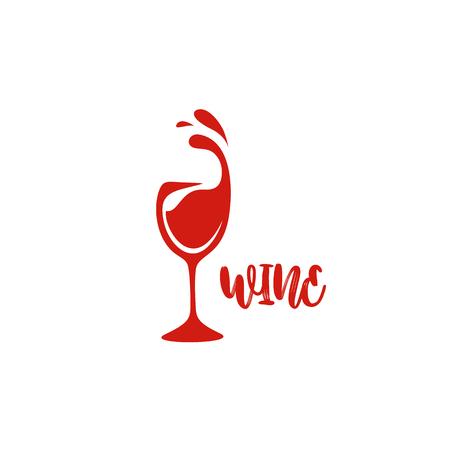 타이 포 그래피 벡터 일러스트 디자인 흰색 배경에 레드 와인 유리.