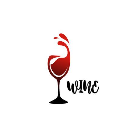 minimaal logo van wijnglas op witte achtergrond met ontwerp van de typografie het vectorillustratie. Stock Illustratie