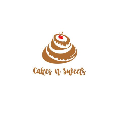 タイポグラフィベクターイラストデザインの白い背景にチェリーと創造的なケーキのロゴ。  イラスト・ベクター素材