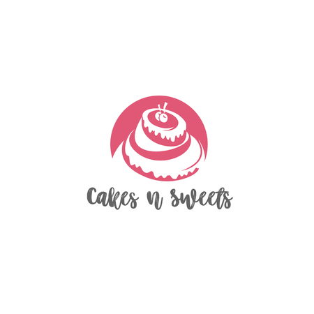 Pink strawberry cake on white background with typography and candle vector illustration design.