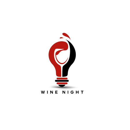 Creative logo of red and black wine glass in bulb on white background with typography vector illustration design. Çizim