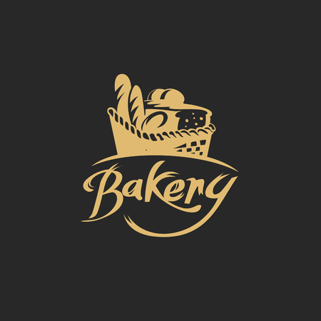 golden bread basket on black background with typography vector illustration design. Çizim