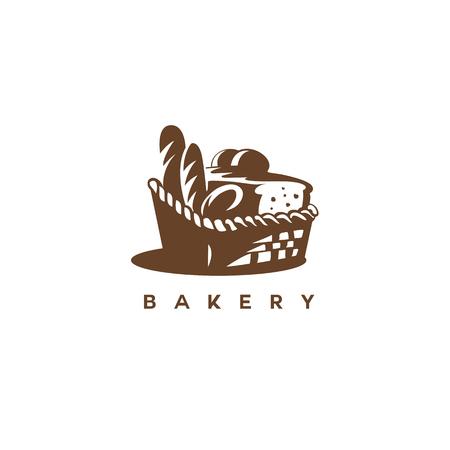 白い背景ベクトルイラストデザインにパン付き茶色のバスケット。