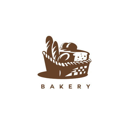 brown basket with bread on white background vector illustration design.
