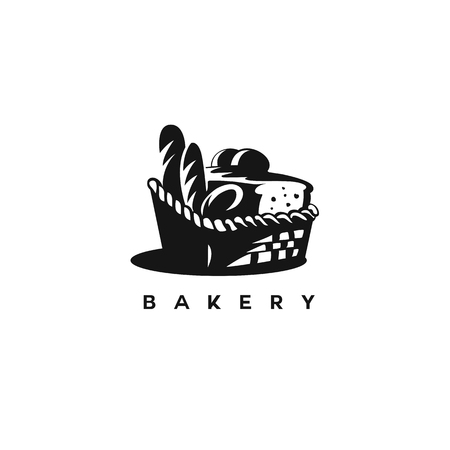 Black and white bakery basket with bun,bread on white background with typography vector illustration design