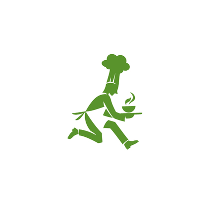 Green chef in hurry Illustration