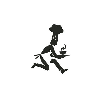 Black and white chef running Ilustracja