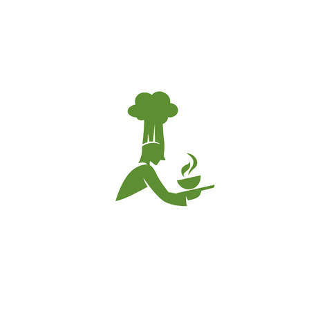 Green chef with hat and hot soup bowl icon vector illustration