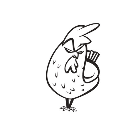 Angry chicken logo on white background vector illustration design. Ilustrace