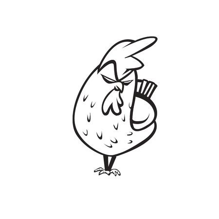 Angry chicken logo on white background vector illustration design. Иллюстрация