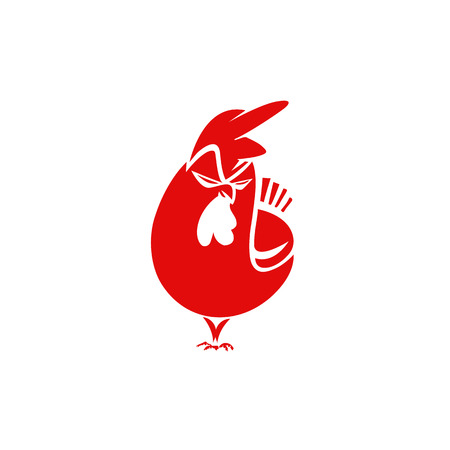 A minimal logo of angry red chicken vector illustration.