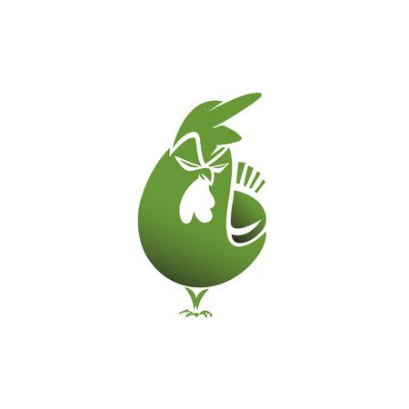 Een minimaal logo van boze groene kip vectorillustratie.
