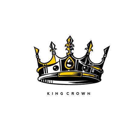 O logotipo da coroa do rei da prata e do ouro no fundo branco com ilustração do vetor da tipografia projeta. Logos