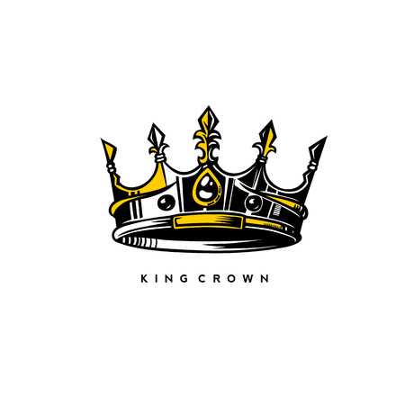 Srebrne i złote logo korony króla na białym tle z ilustracji wektorowych typografii. Logo