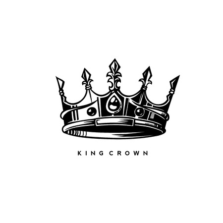 Simple king crown on white background with typography vector illustration design.