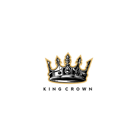Golden yellow and silver king crown logo on white background with typography vector illustration.  イラスト・ベクター素材