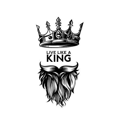 King crown, moustache and beard on white background logo with typography vector illustration design.