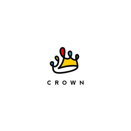 タイポグラフィベクトルイラストデザインと白い背景にカラフルなクラウンの最小限のロゴ