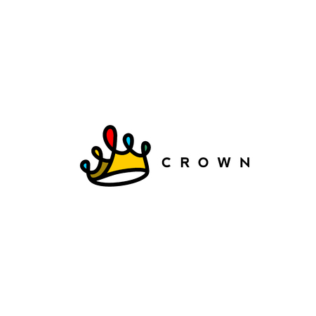 red,yellow,blue combination of crown logo on white background with typography vector illustration design. Иллюстрация