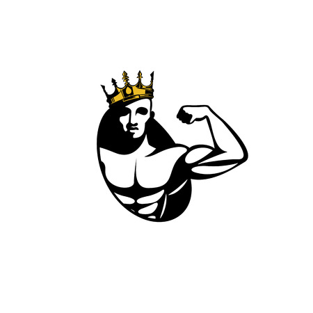half body muscle with crown icon on white background vector illustration design.