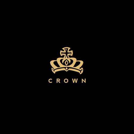 royal golden crown logo vector illustration