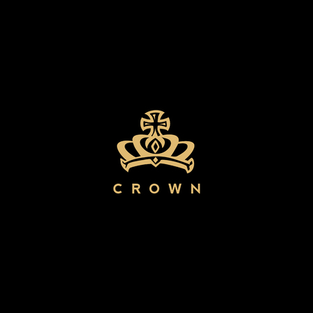 royal golden crown logo vector illustration
