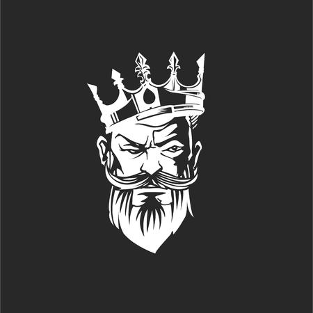 Gezicht van een bebaarde man in de kroon en snor vectorillustratie. Stock Illustratie