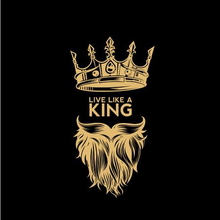 Złote logo ilustracji wektorowych korony, wąsy i brodę