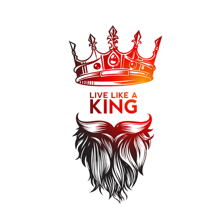 Hipster king icon with crown, hand sketch vector illustration design.