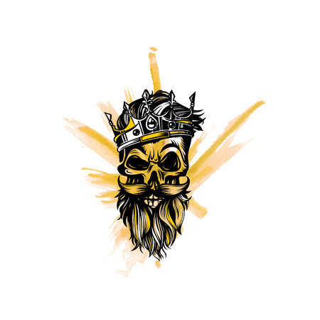 Hipster skull with beard and mustache, crown, king, vector illustration