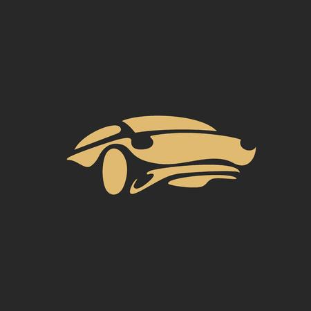 Minimal golden sports car on black background vector illustration design.
