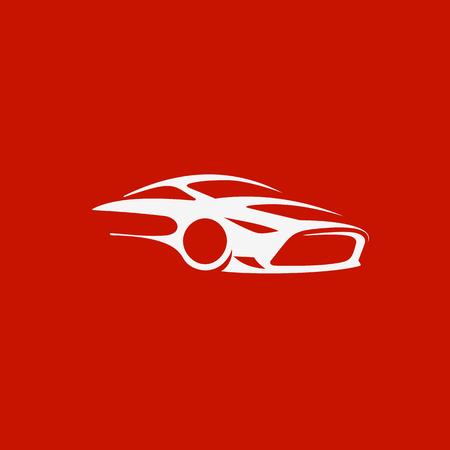 Minimaal embleem van luxesportwagen op rode vectorillustratie als achtergrond.
