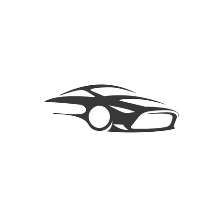 Minimal logo of luxury black car on white background vector illustration design.
