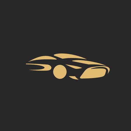 ●車ベクトルイラストのゴールデンラグジュアリーデザインのミニマルロゴ。
